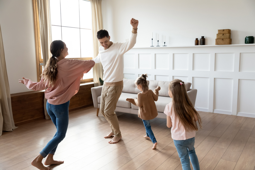family exercise together